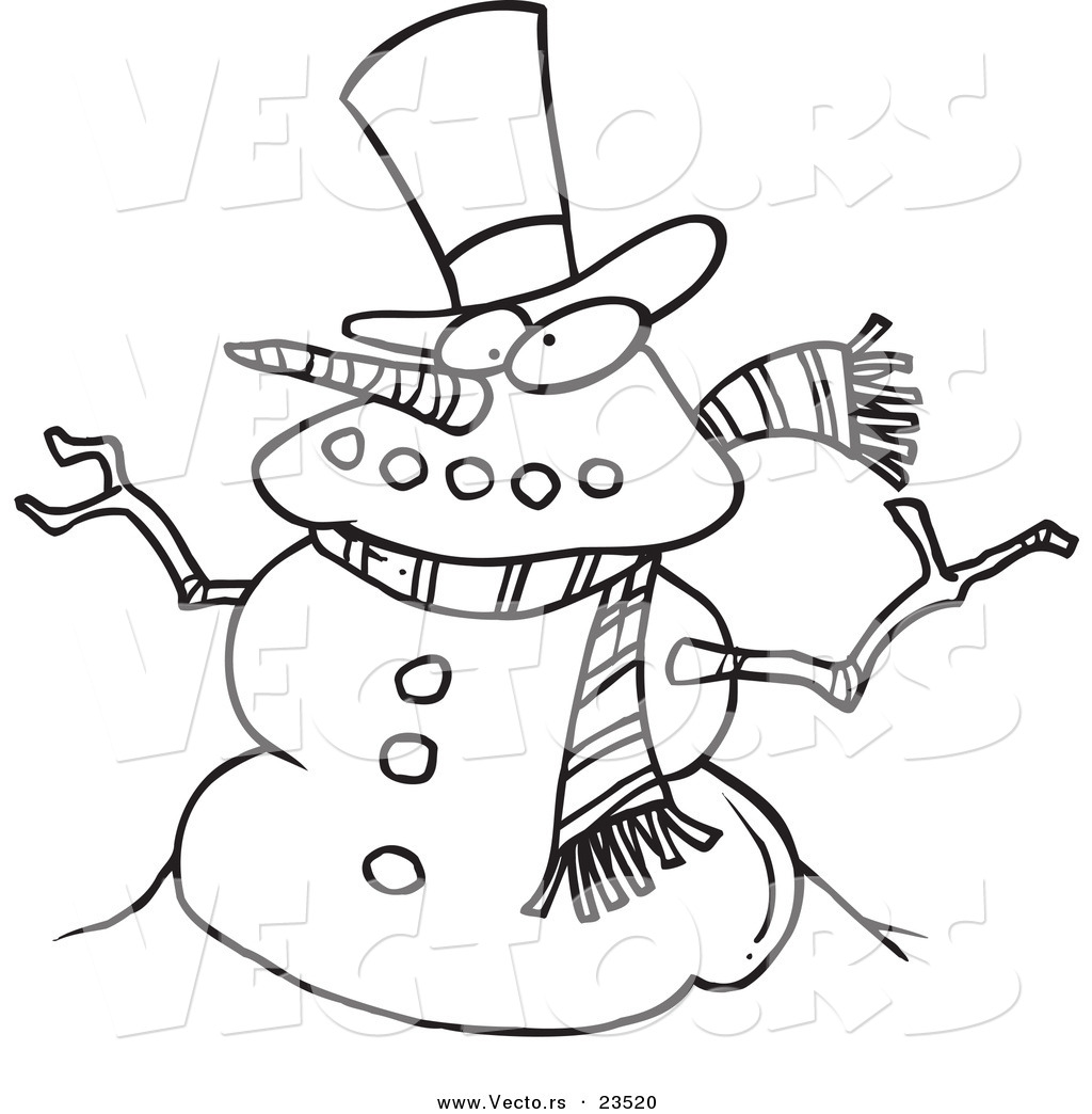 Vector of a Cartoon Snowman - Coloring Page Outline by Ron Leishman ...