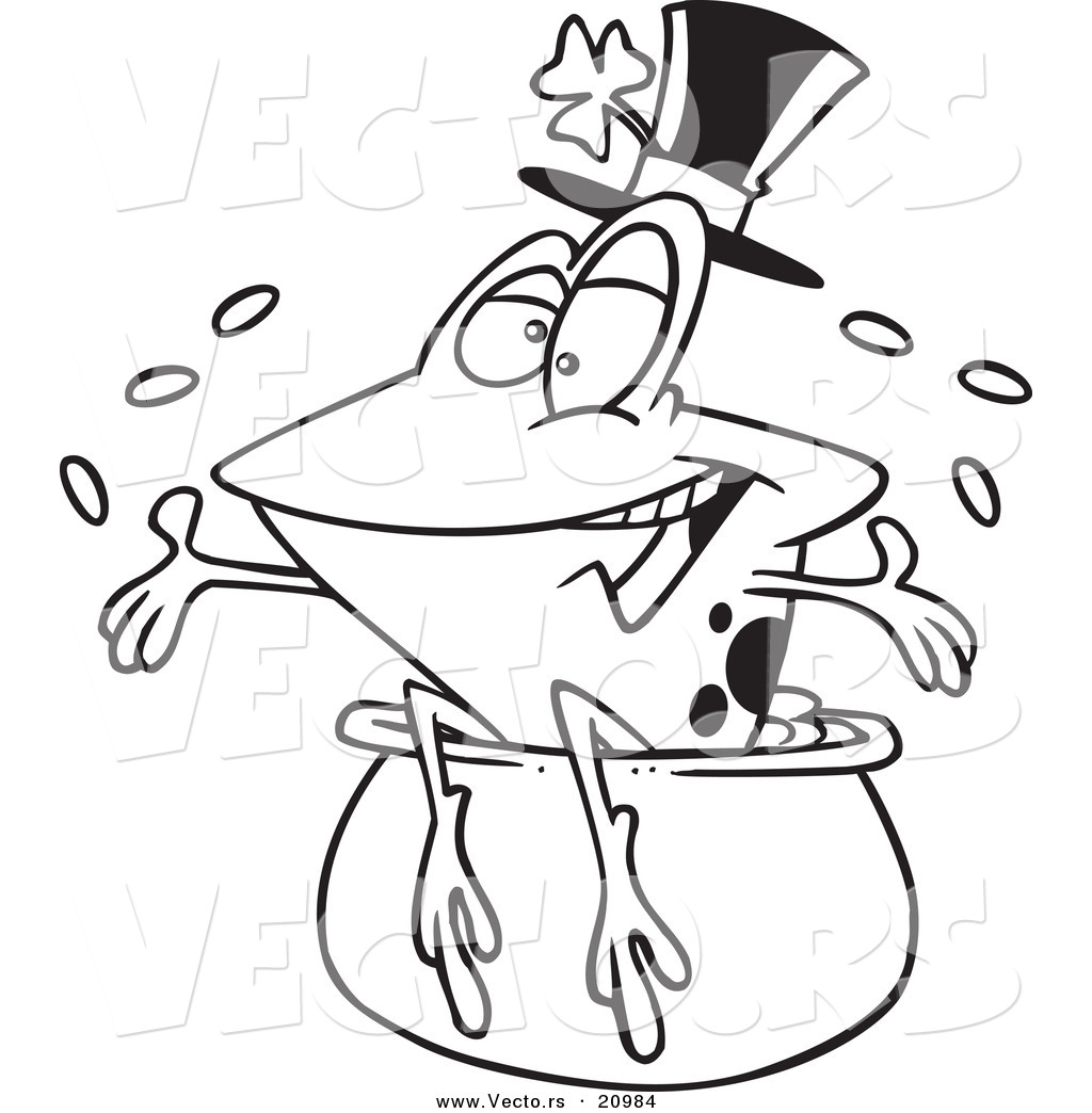 vector of a cartoon st patricks day frog on a pot of gold
