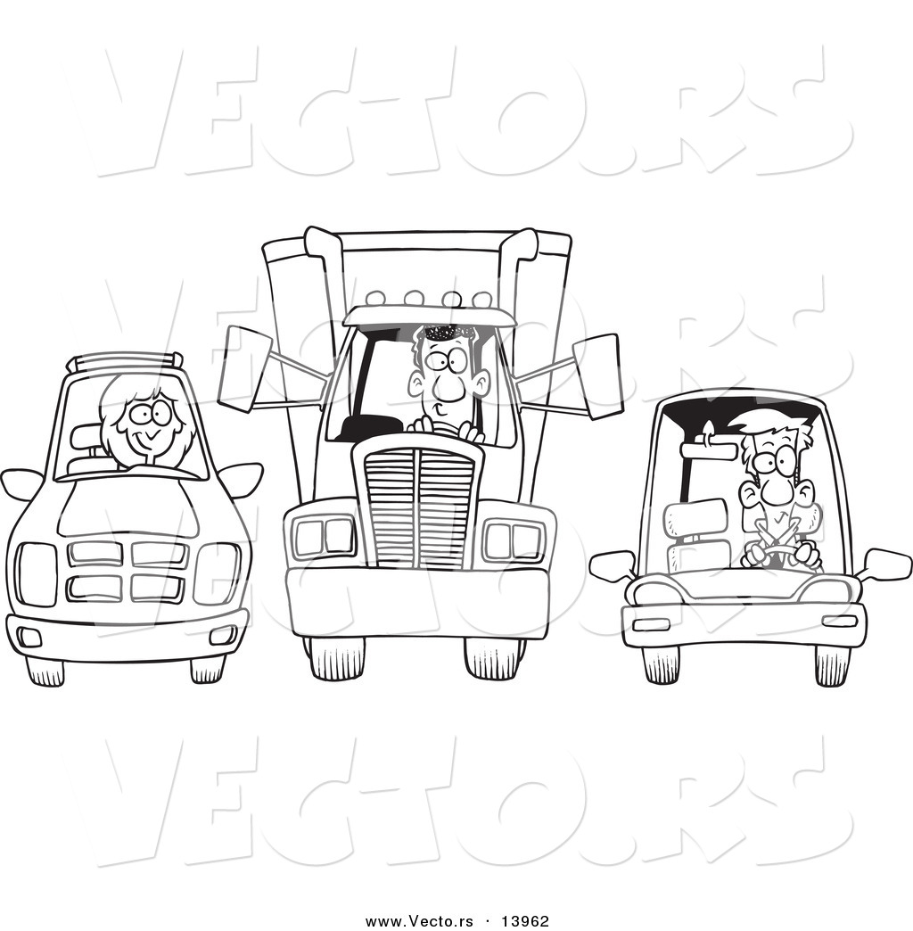 vector of a cartoon suv  big rig and car at a stop light