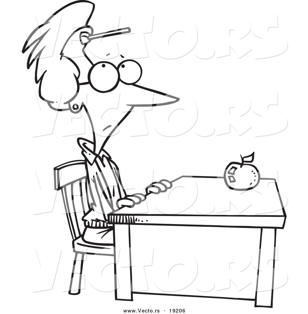 vector of a cartoon teacher sitting at her desk with a dart on her