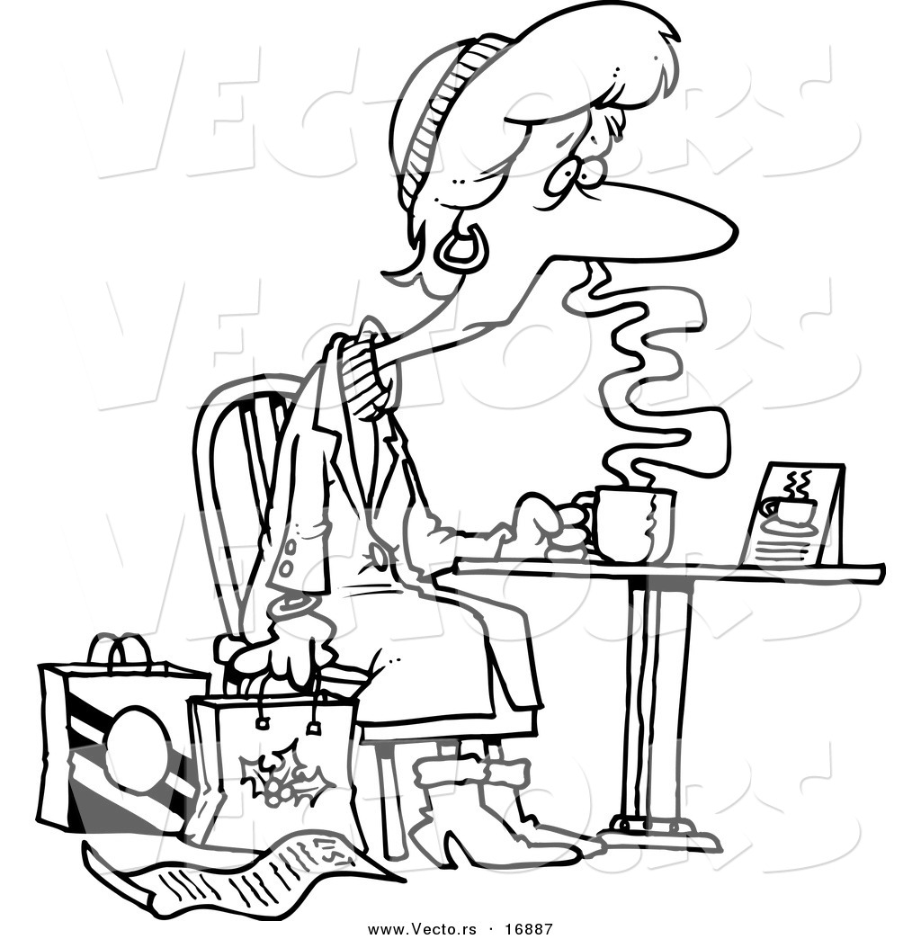 coffee coloring pages - vector of a cartoon tired christmas shopper drinking