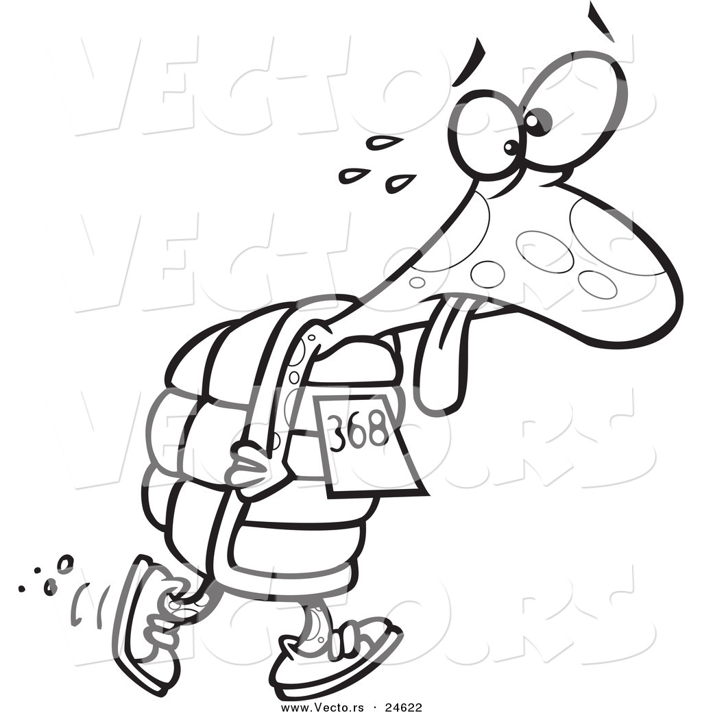 vector of a cartoon tired tortoise walking in a race outlined