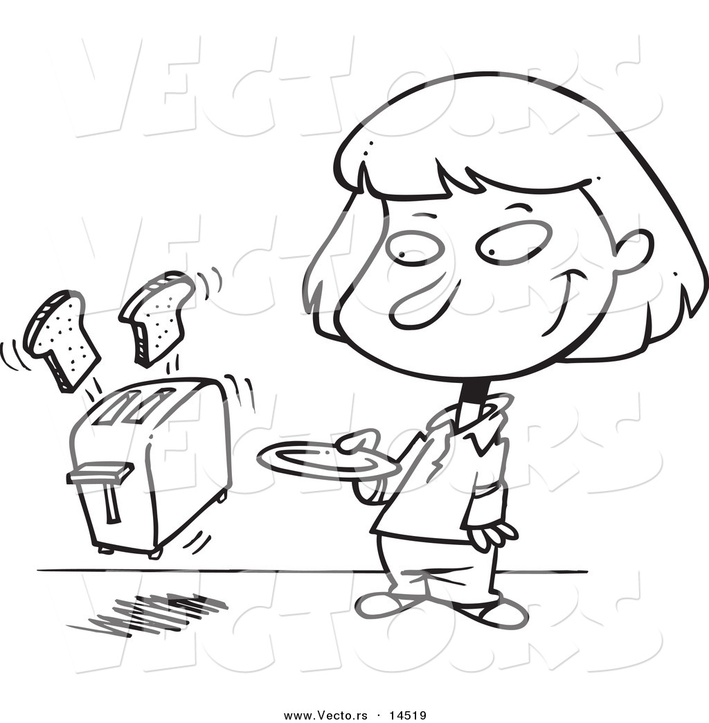Bread Toaster Drawing Vector of a Cartoon Toaster