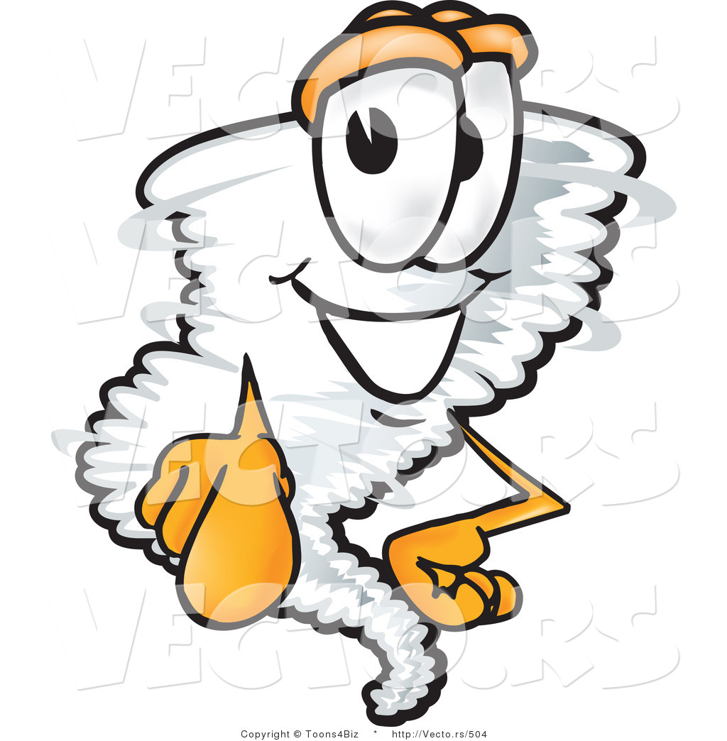 Vector of a Cartoon Tornado Mascot Pointing Finger Forward by ...