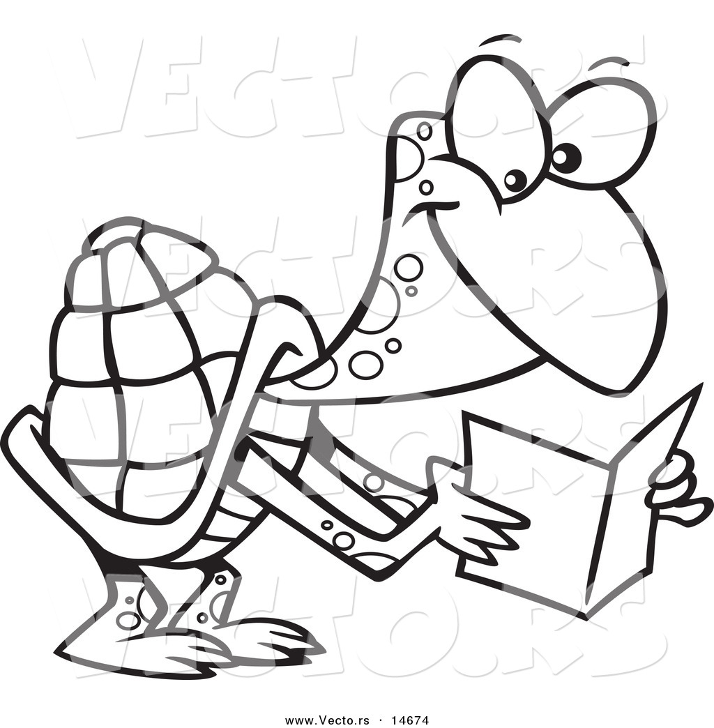 ... of a Cartoon Tortoise Reading a Greeting Card - Coloring Page Outline