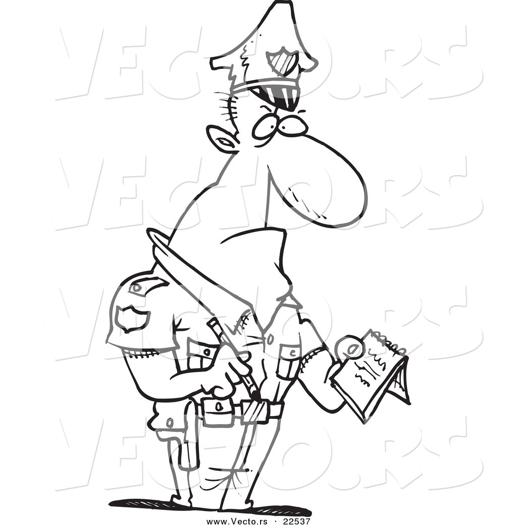 vector of a cartoon tough cop writing a ticket coloring page