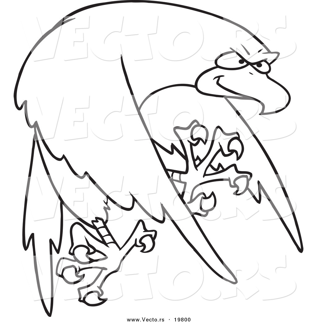 vector of a cartoon tough falcon outlined coloring page by