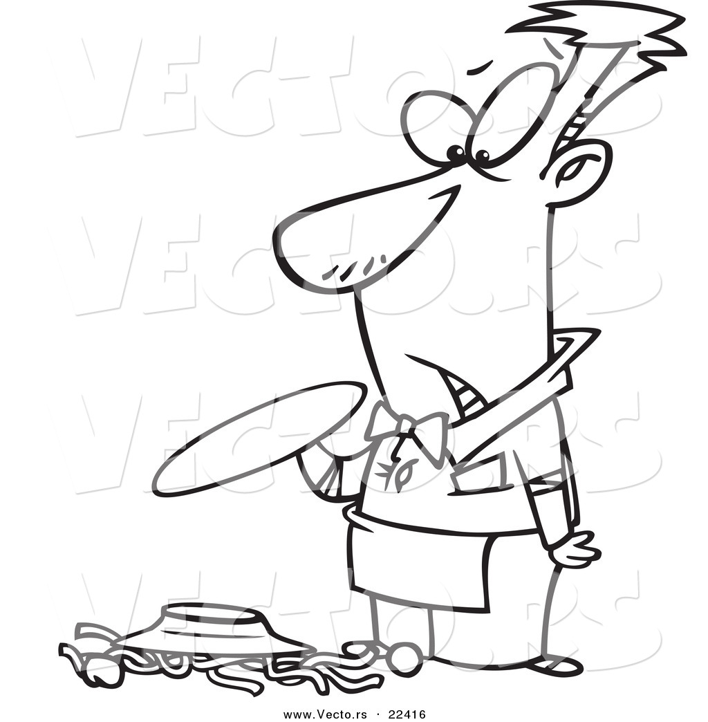 vector of a cartoon waiter dropping spaghetti coloring page