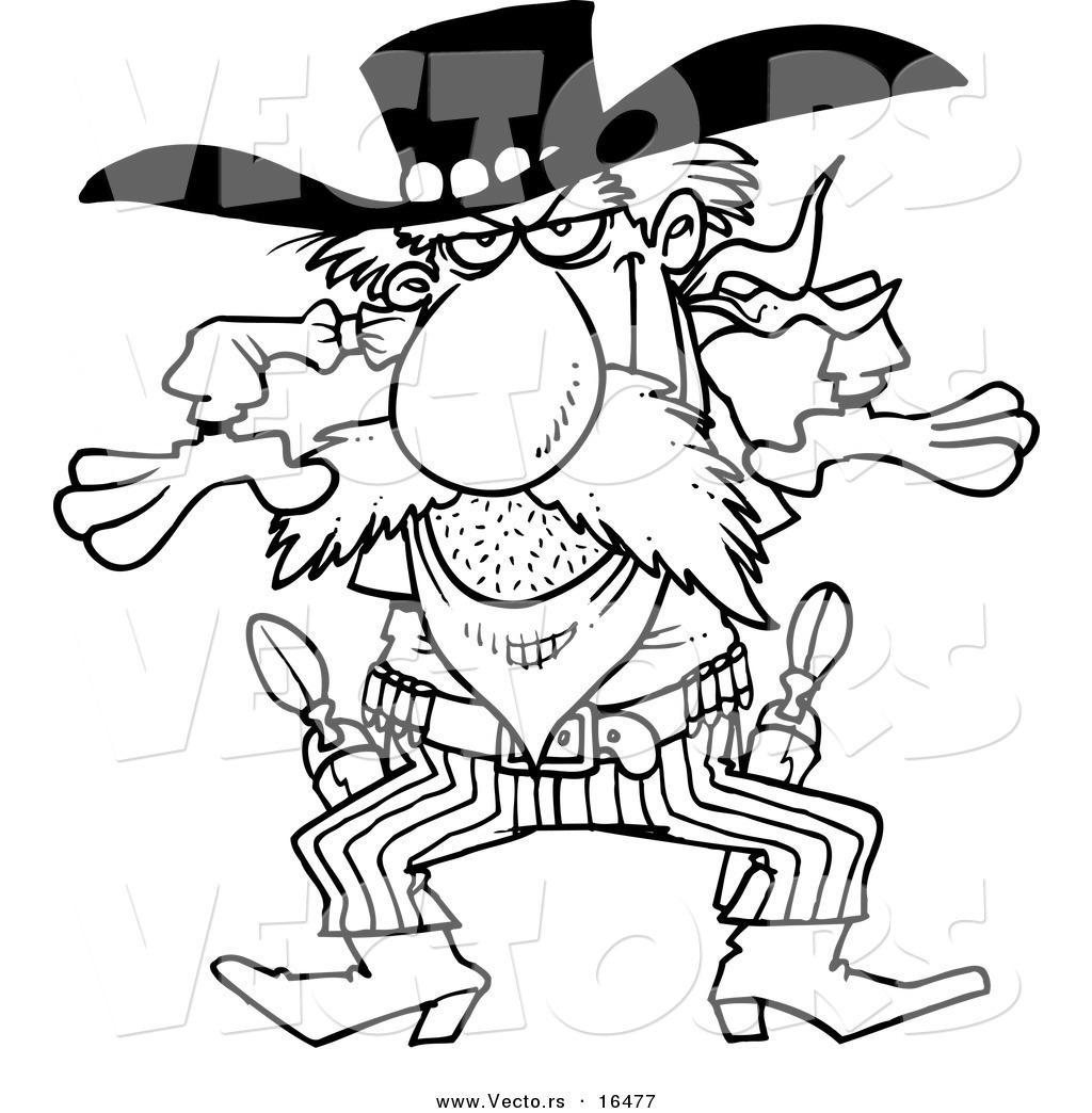 Vector Of A Cartoon Western Gunslinger Cowboy Outlined