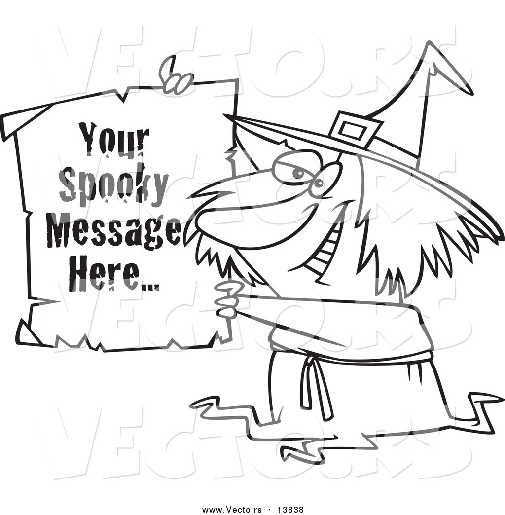 vector of a cartoon witch holding up a piece of paper with sample