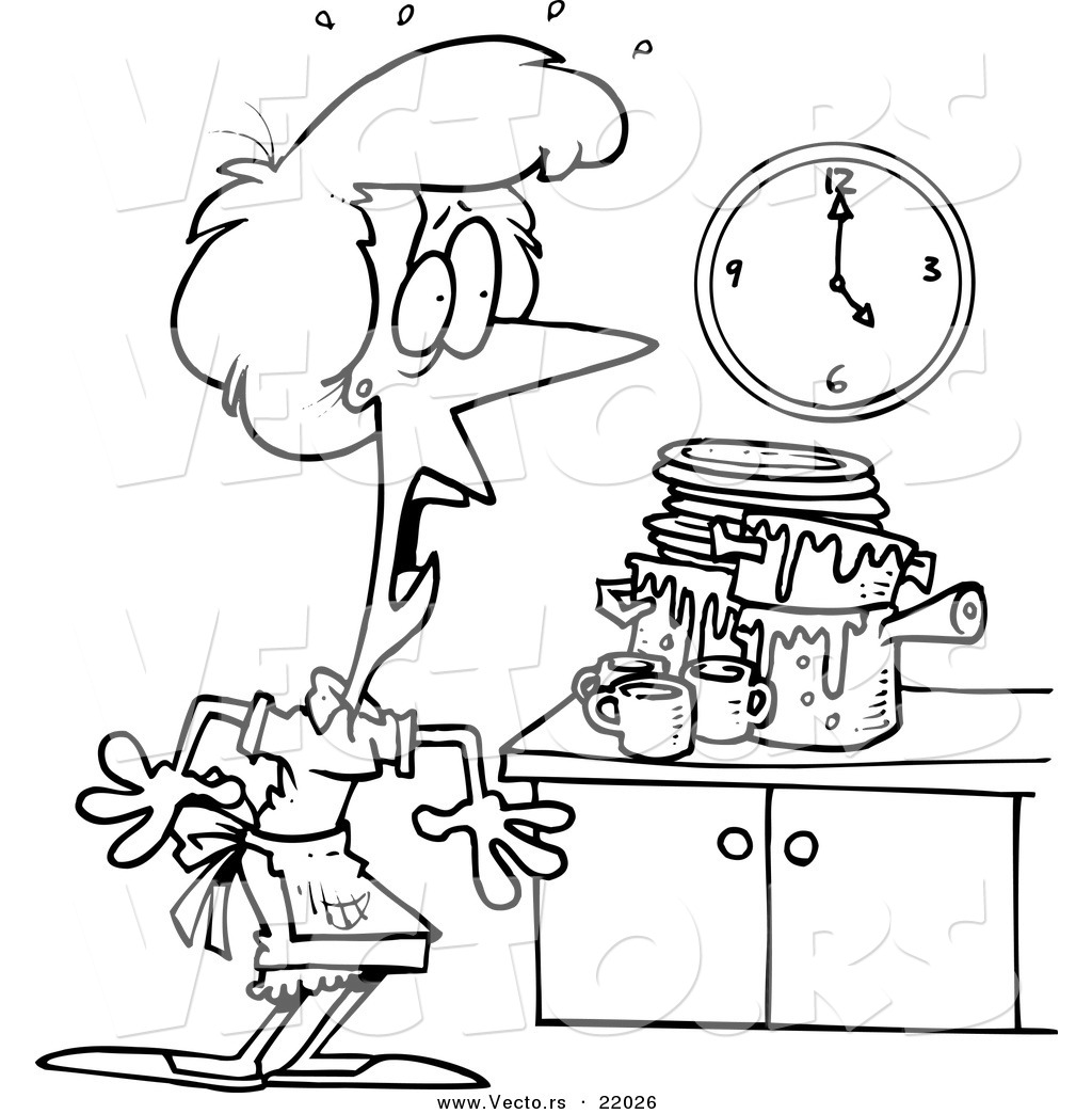 Messy Kitchen Design: Vector Of A Cartoon Woman Panicking In A Messy Kitchen