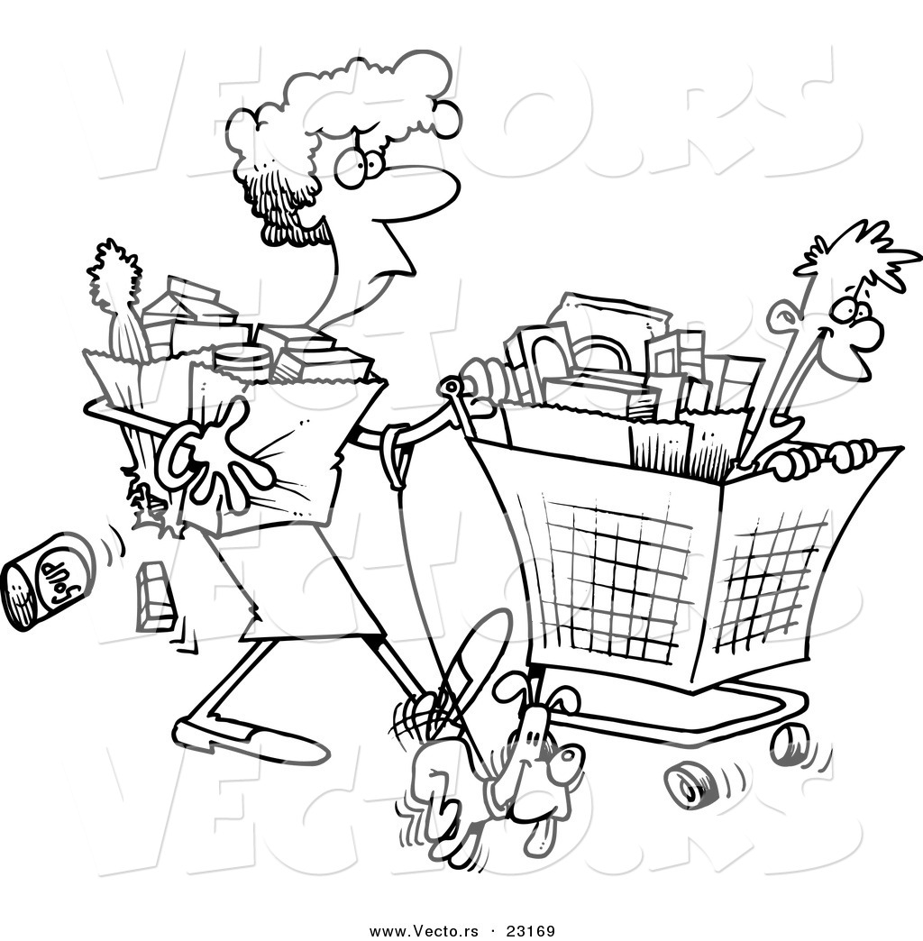 girls going shopping coloring pages | Vector of a Cartoon Woman Shopping with Her Son - Coloring ...