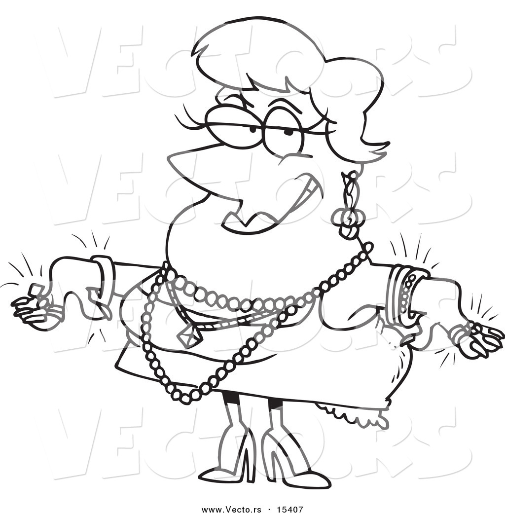 Vector Of A Cartoon Woman Wearing Jewels Coloring Page Outline By Ron Leishman 15407