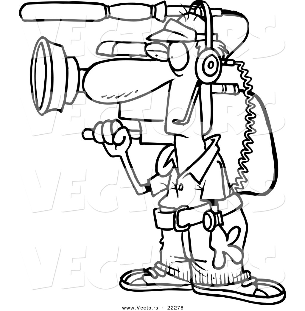 vector of a cartoon working camera man