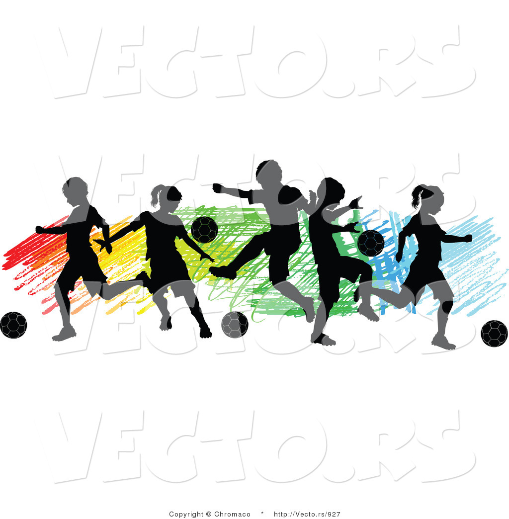Vector of a children playing soccer over colorful background