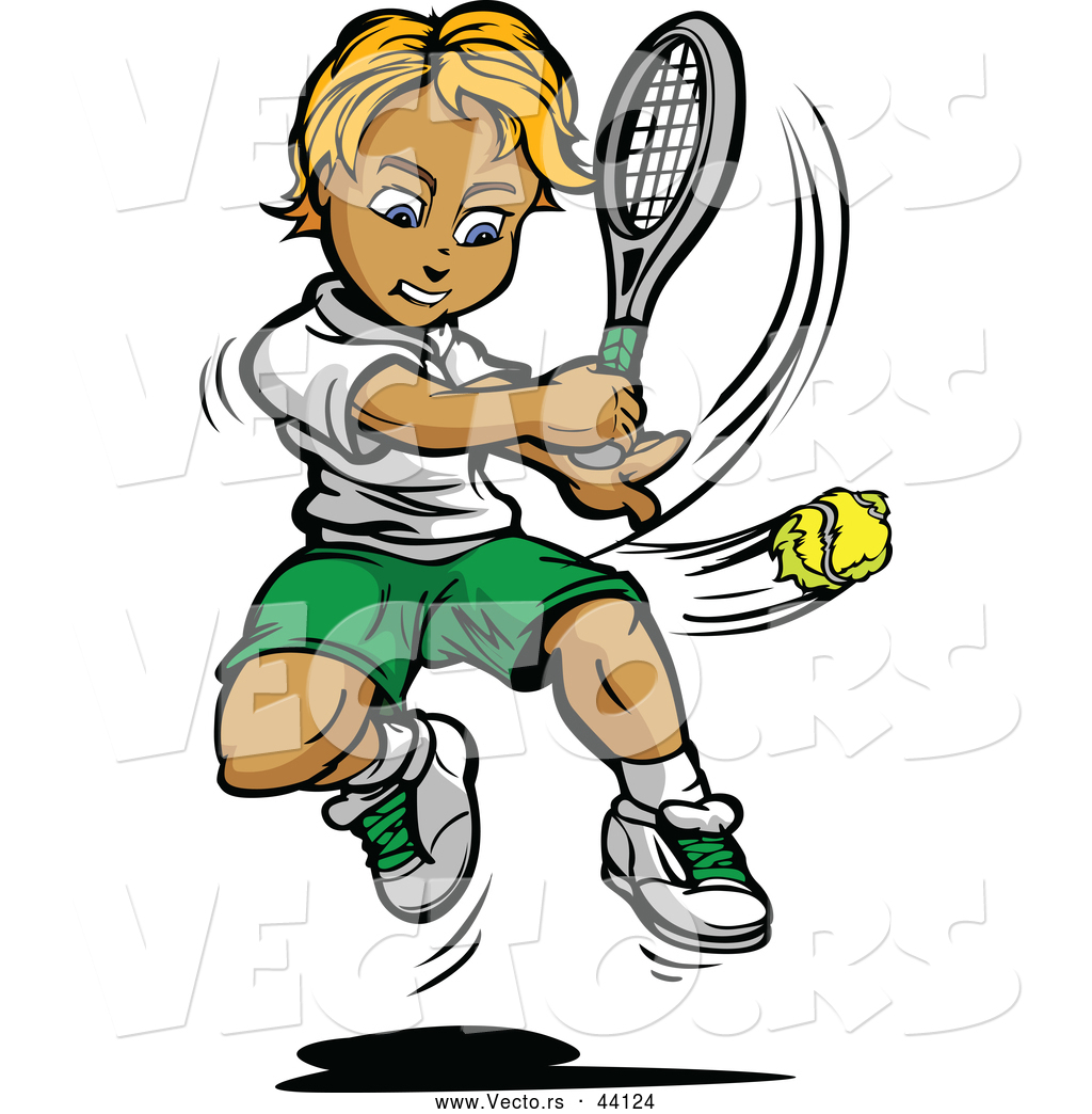 Vector of a Competitive Cartoon Tennis Player Swinging at a Ball by ...