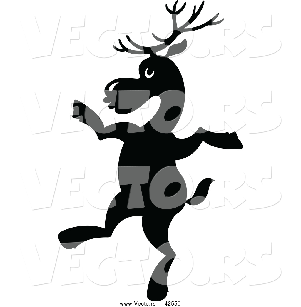 graphic of a dancing cartoon reindeer - silhouette. This reindeer ...