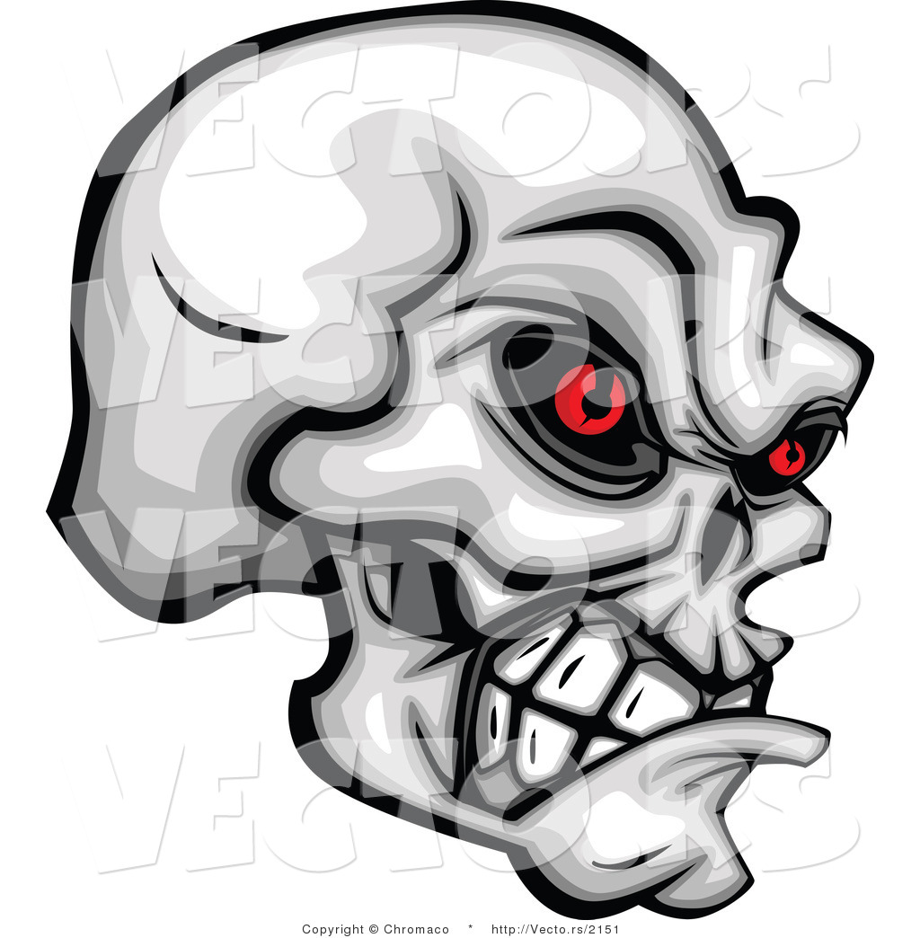Evil Red Eyes Skull Vector