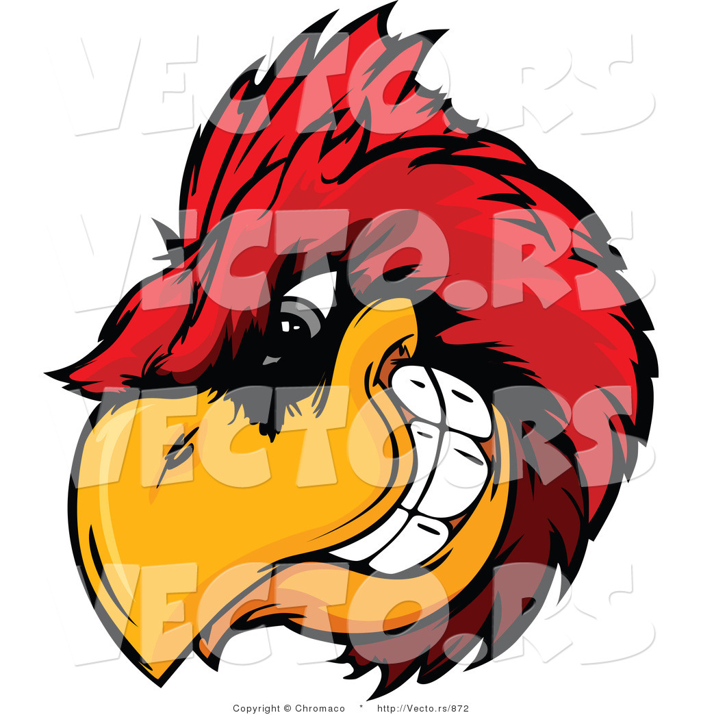 Vector Dominate Cartoon Cardinal Mascot With Intimidating Eyes