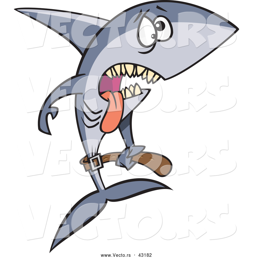 vector of a exhausted cartoon anorexic shark starving and