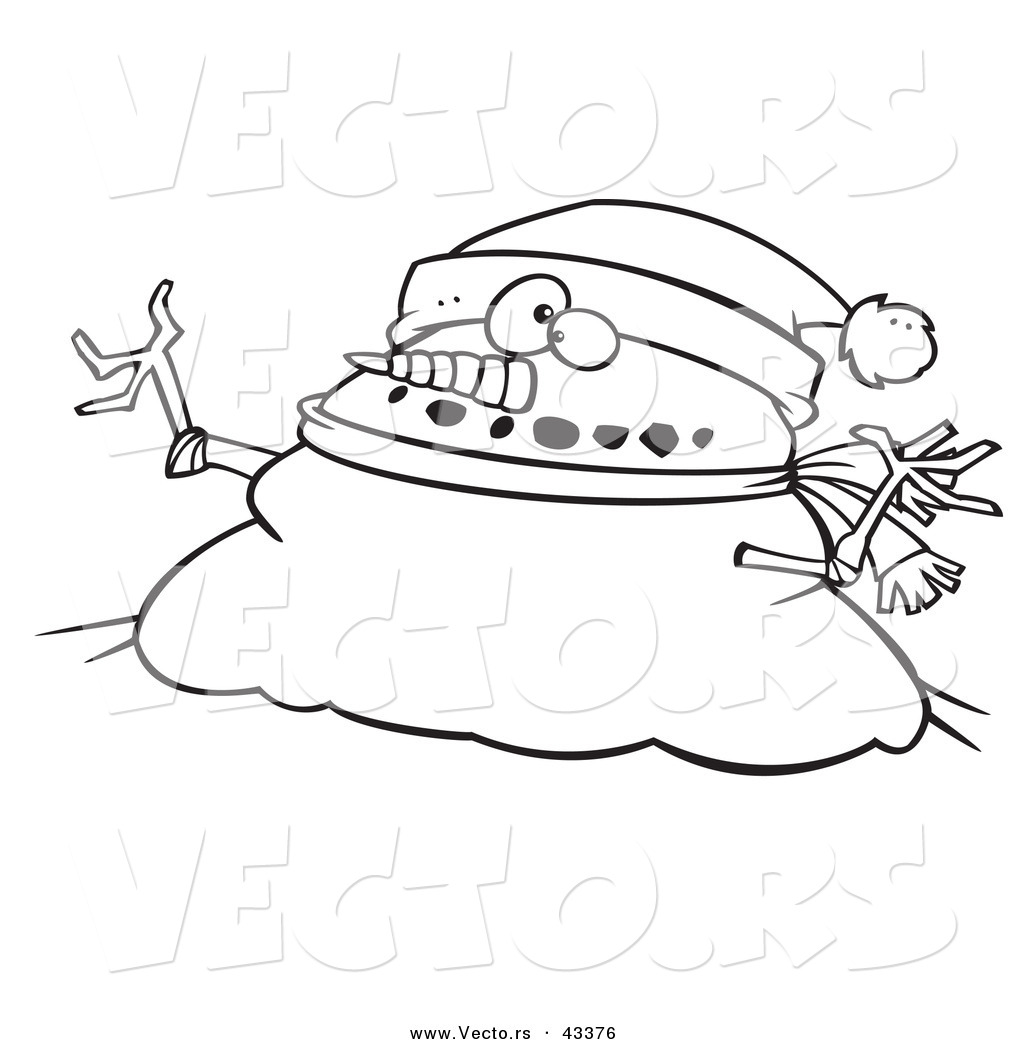 Mr Snowman On Christmas Touching A Snowflake Coloring Page: Vector Of A Fat Cartoon Christmas Snowman Wearing A Santa
