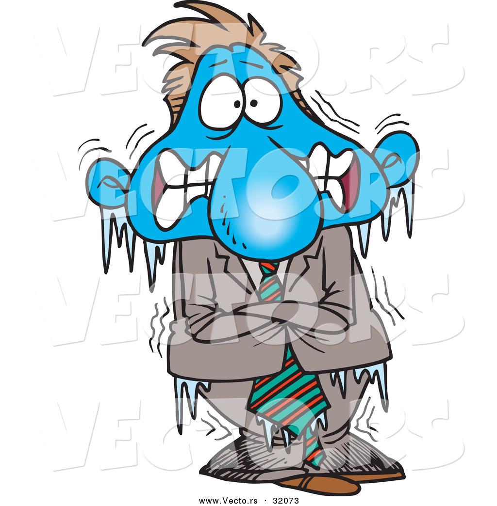 Larger Preview Vector Of A Frozen Cold Cartoon