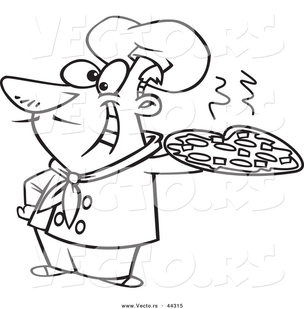 Vector of a happy cartoon italian chef holding a pizza pie for Italian food coloring pages
