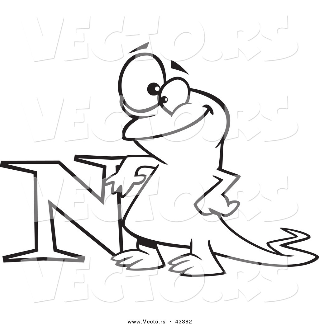 Vector of a happy cartoon newt leaning on the letter n for Newt coloring page