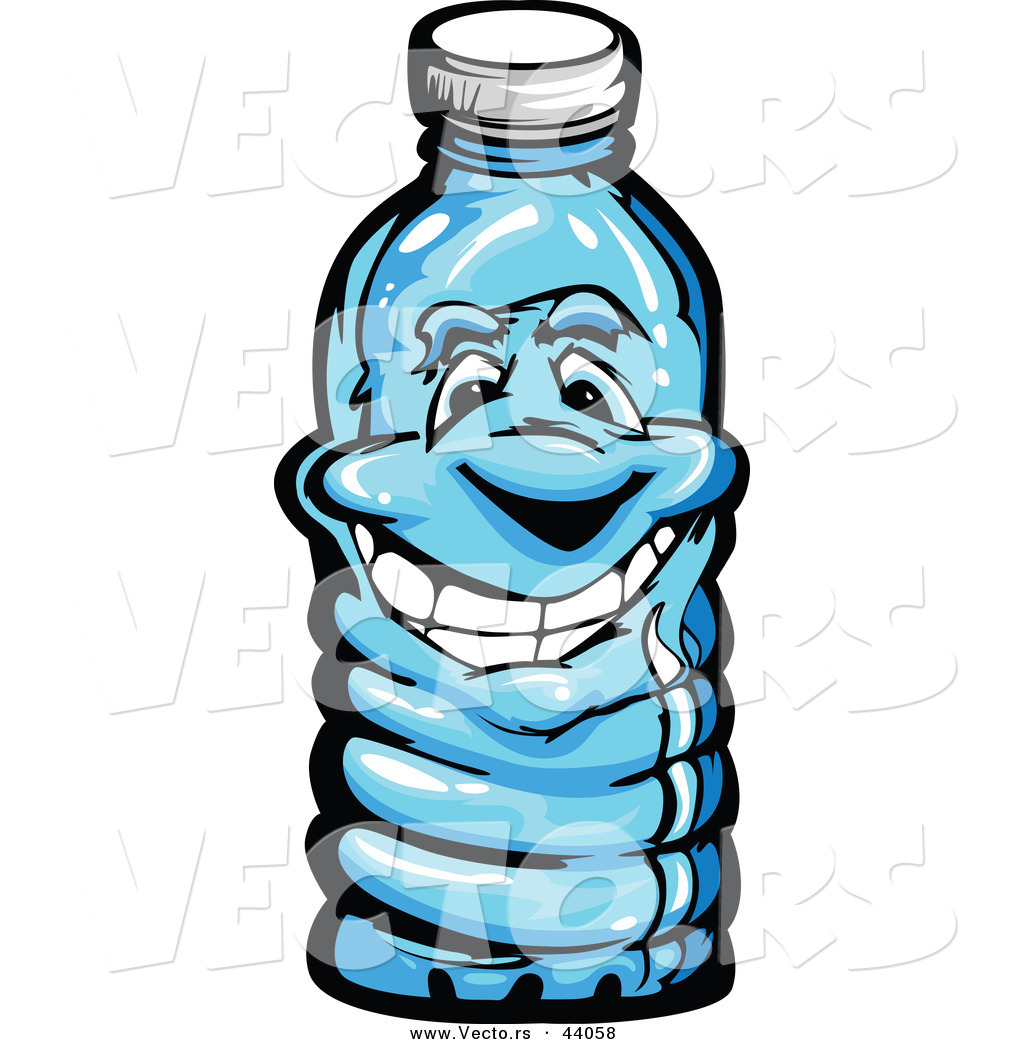 Vector of a Happy Cartoon Plastic Water Bottle Mascot by Chromaco - #