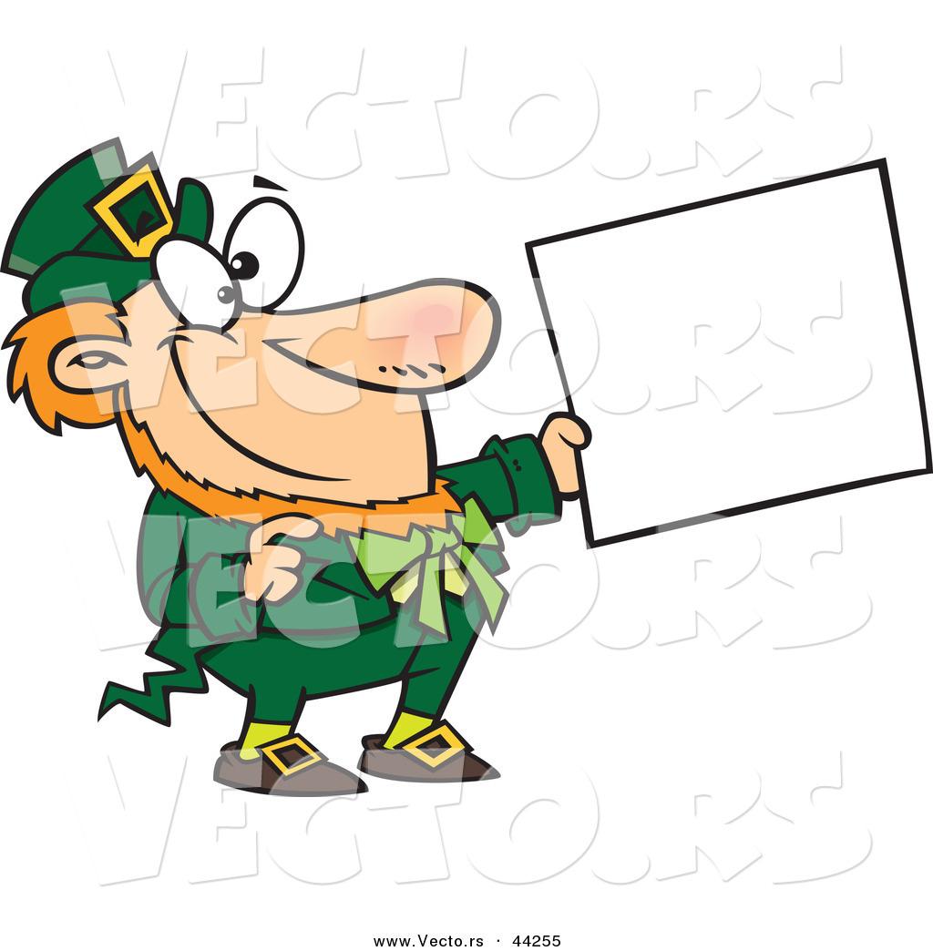... sign cartoon black and white outline st patricks leprechaun jumping up