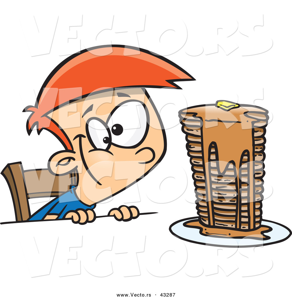 Vector of a Hungy Cartoon Boy Looking at a Stack of Pancakes Dripping ...
