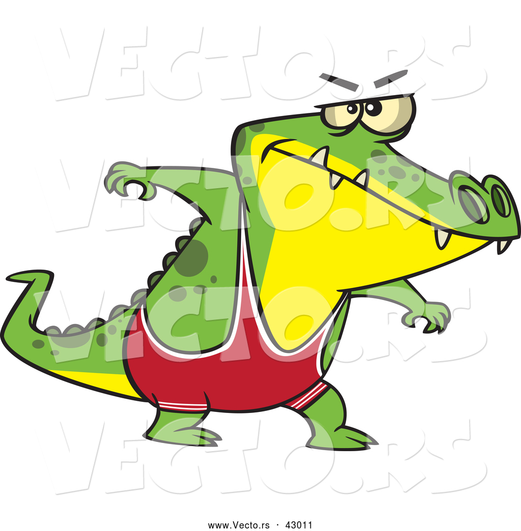 Vector of a Intimidating Cartoon Wrestler Alligator Ready to Wrestle ...