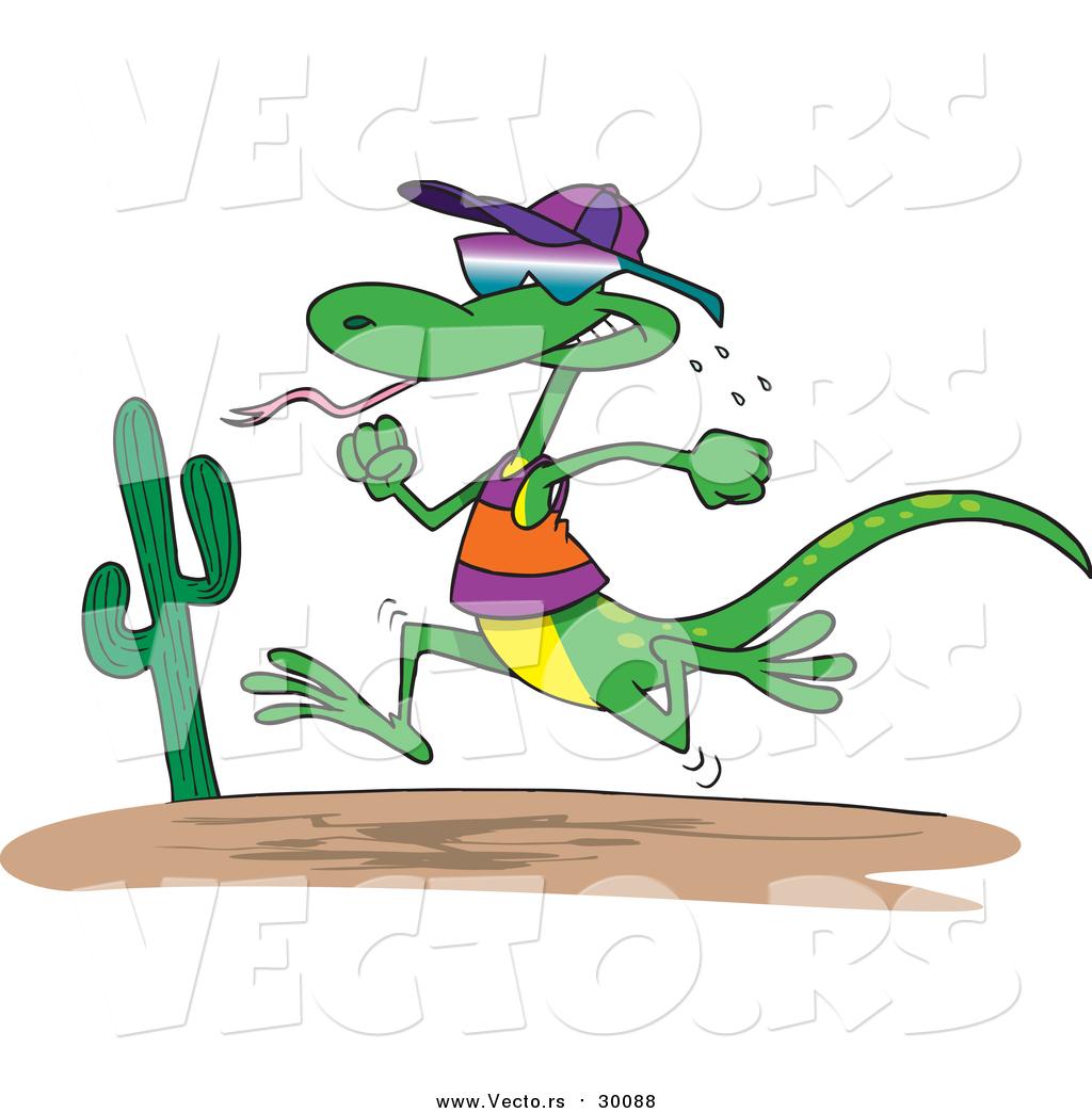 Vector of a Lizard Running like a Human Through a Desert ...