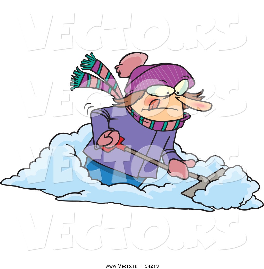 vector of a mad cartoon woman shoveling snow by ron leishman 34213 Snow Blower Cartoon snow shovel clipart free