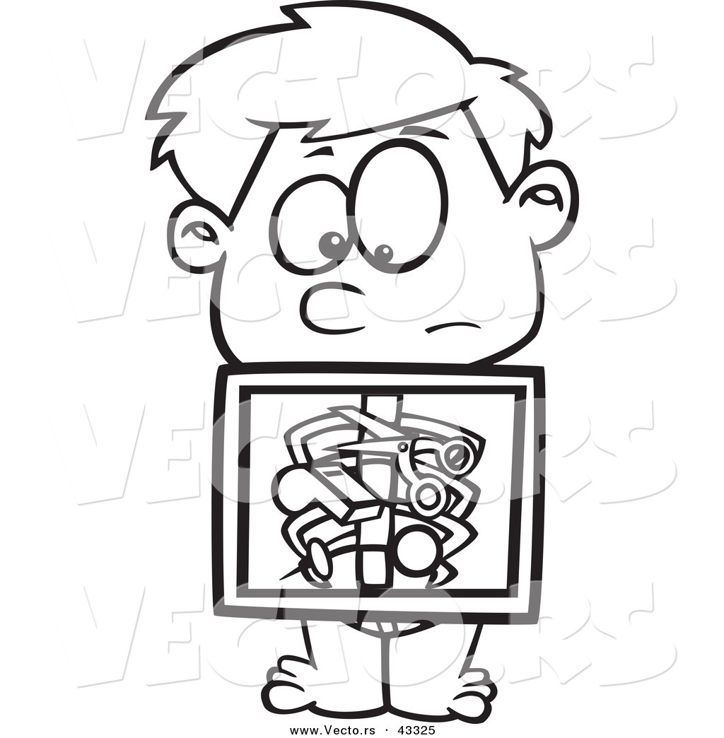 x Ray Line Drawing Cartoon Boy Holding X-ray