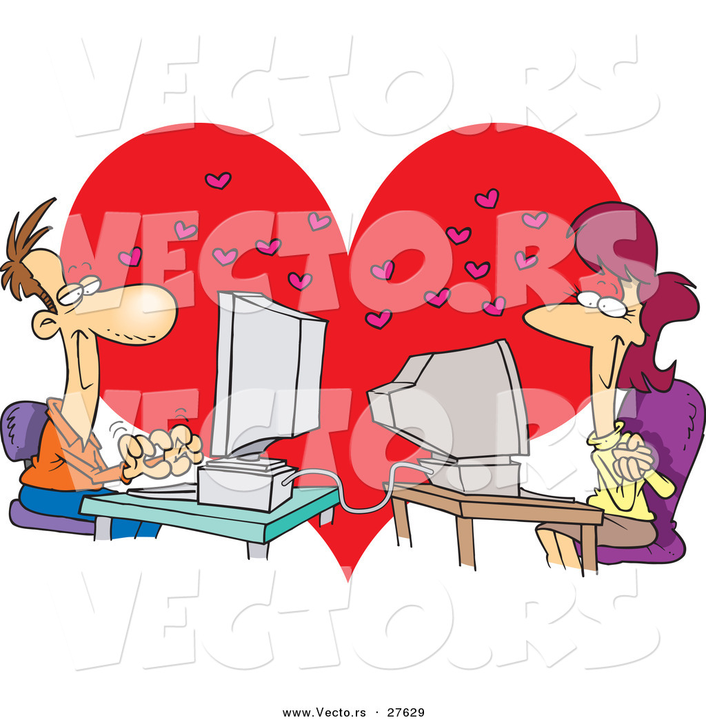Love Each Other Cartoon: Vector Of A Online Cartoon Woman And Man Chatting With