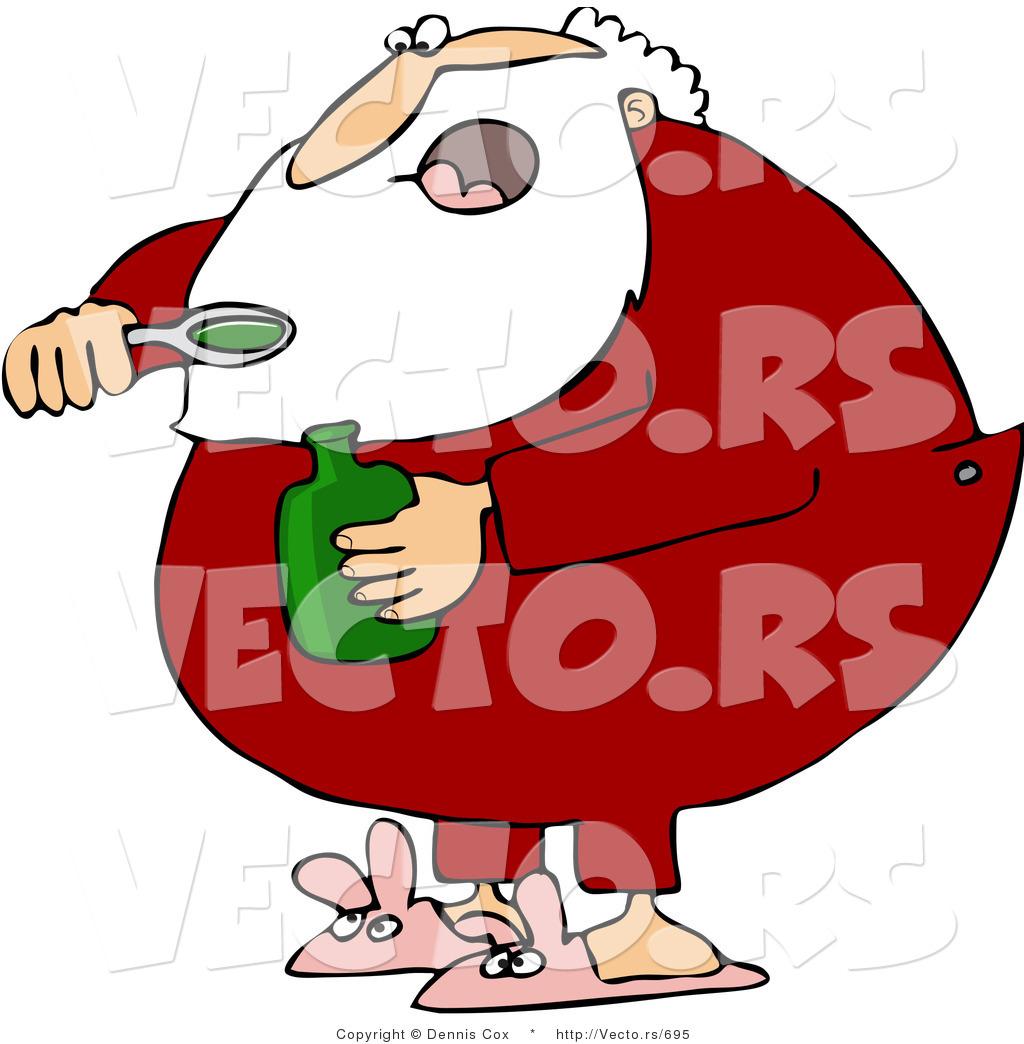 Taking cough syrup medicine sick cartoon man taking awful medication