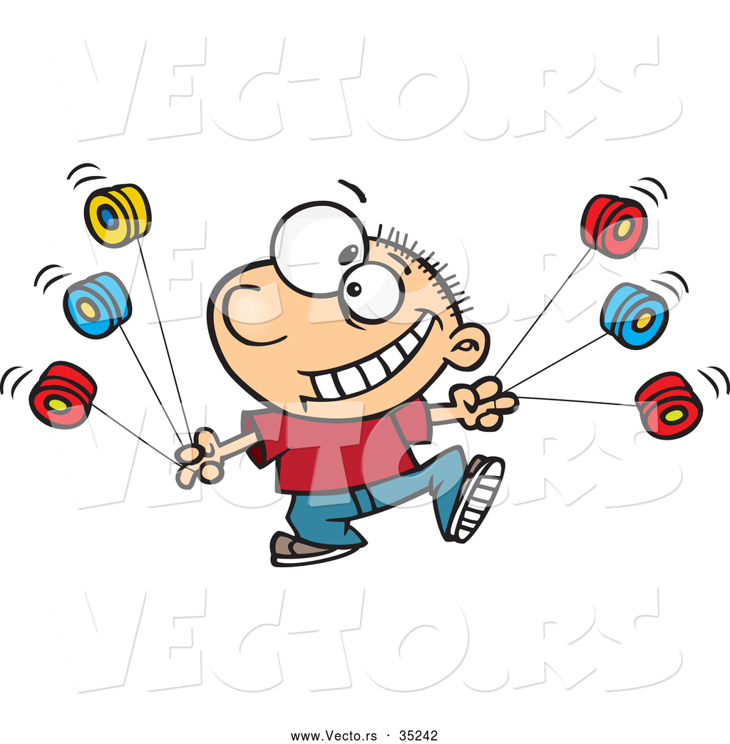 vector-of-a-smiling-cartoon-boy-using-multiple-yo-yos-by-ron-leishman