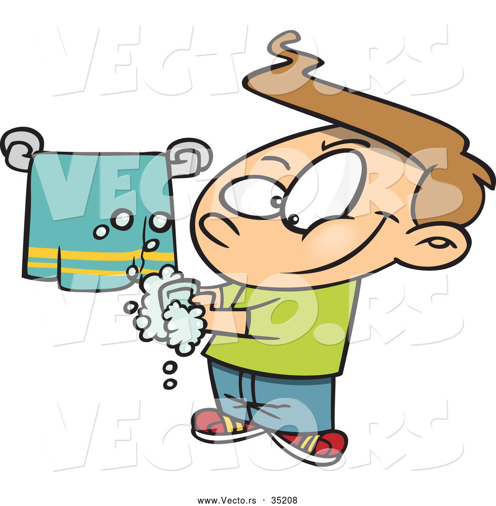 Vector of a Smiling Cartoon Boy Washing His Hands by Ron Leishman ...