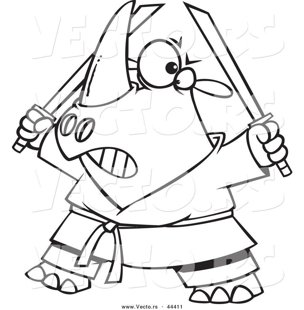 Vector Of A Tough Cartoon Ninja Rhino Holding Swords