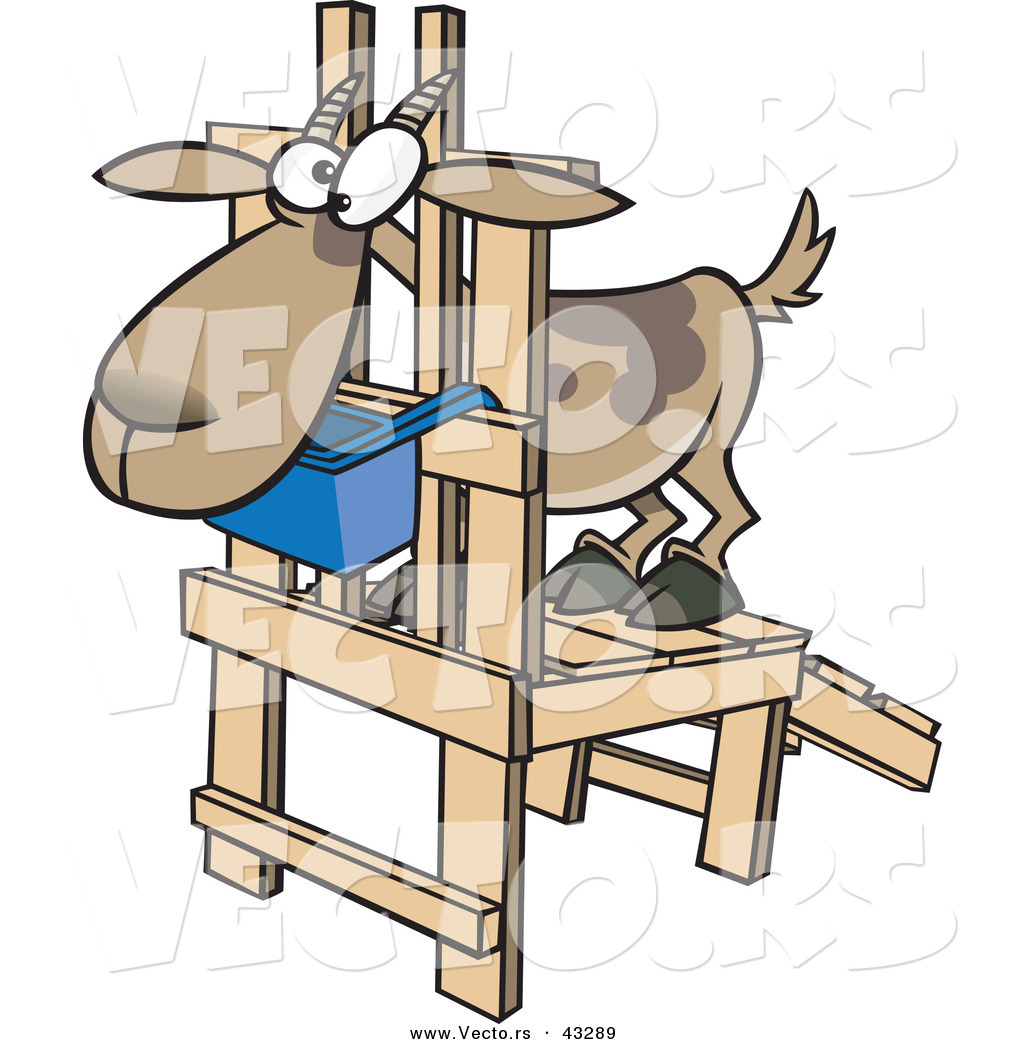 Vector of a Uncomfortable Cartoon Goat Standing on a Wooden ...