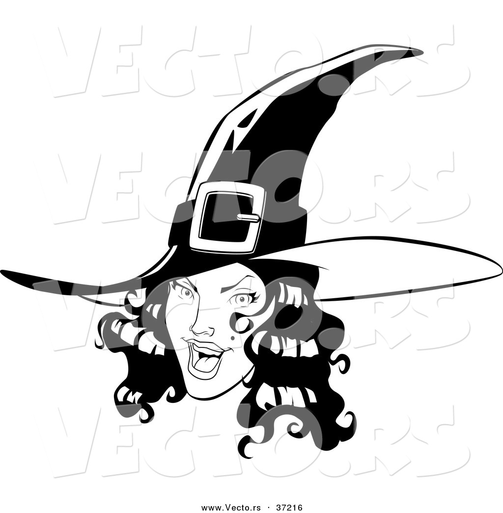 Line Drawing Of Witches Face : Vector of a young pretty witch black and white line art