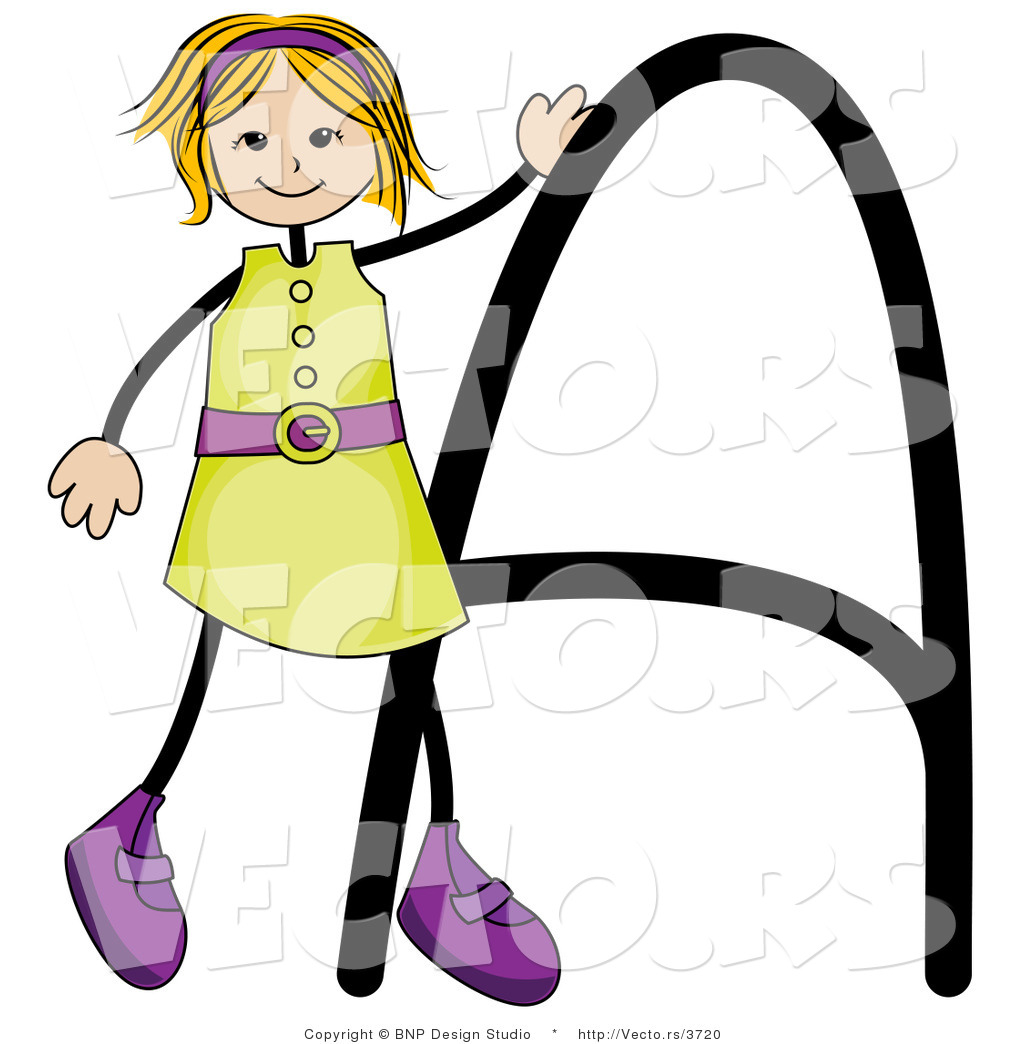 Vector of an Alphabet Letter a with a Stick Figure Girl by BNP ...