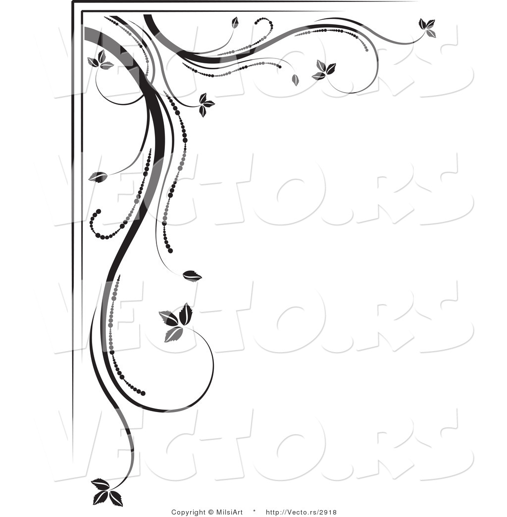 Of black and white floral corner border design element version 3