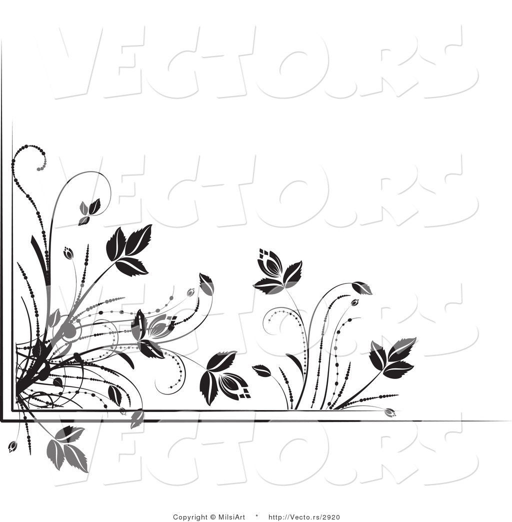 Vector of Black and White Floral Corner Border Design Element Version ...