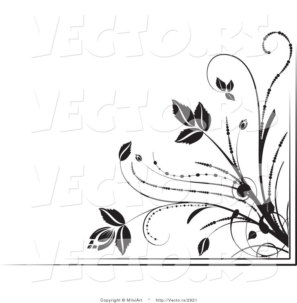 Vector of Black and White Floral Corner Border Design Element Version ...