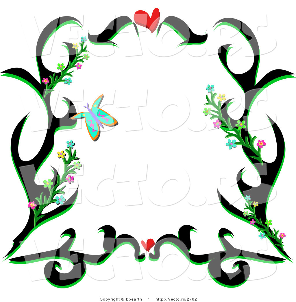 Vector of Black Floral Vines Border Design with Love Hearts and ...