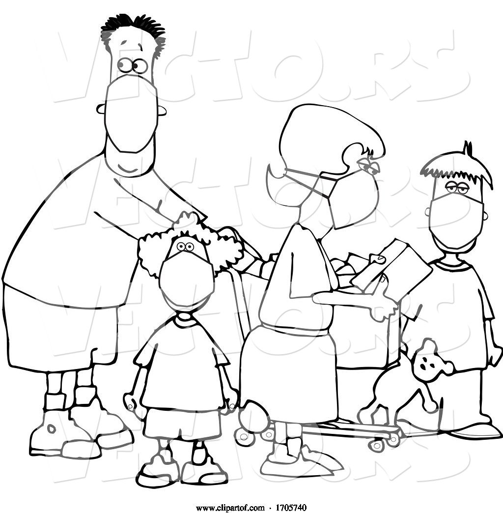 Vector Of Cartoon Black And White Family Wearing Masks And
