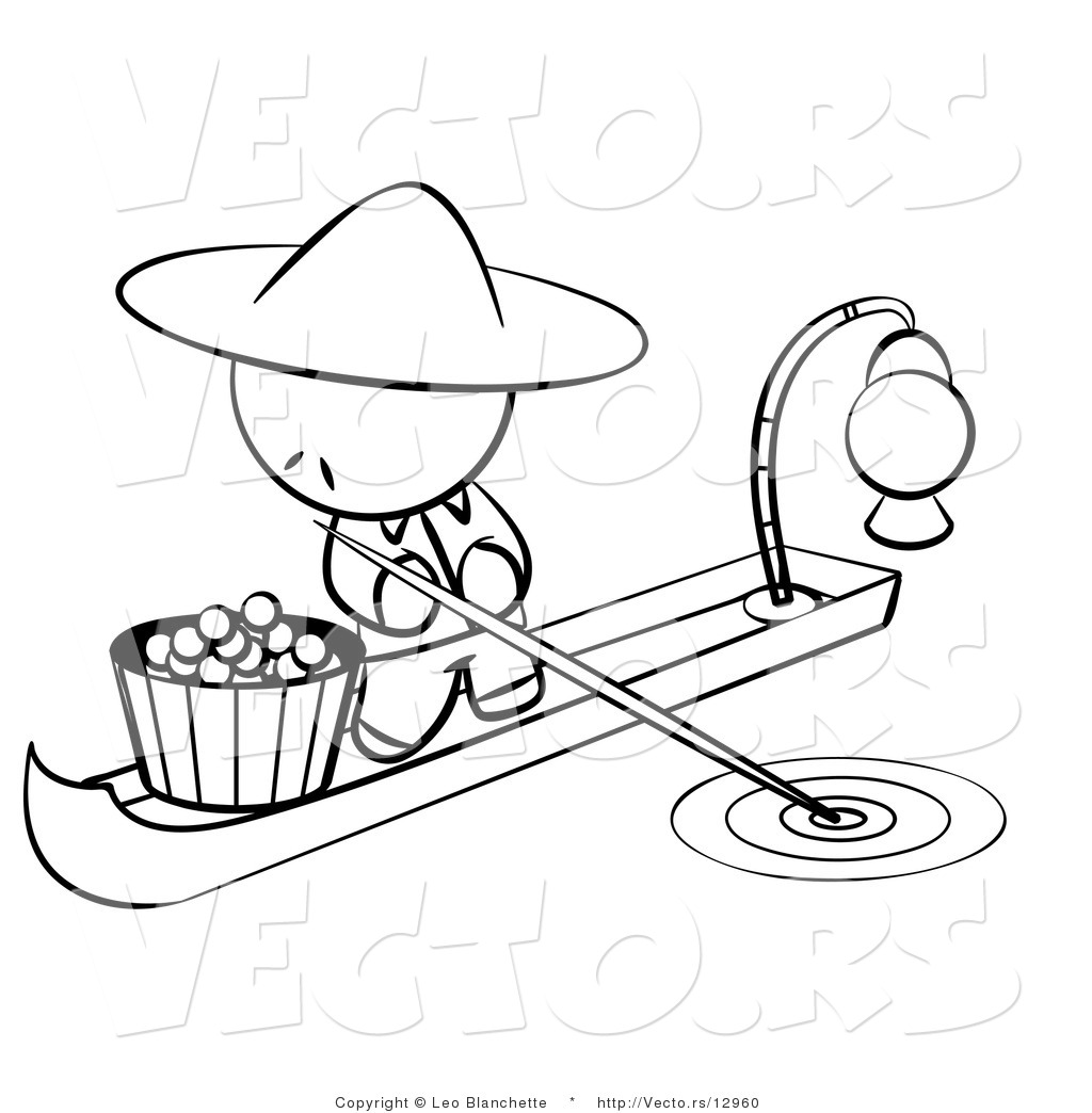 Vector of chinese person on a food boat coloring page for Chinese food coloring pages