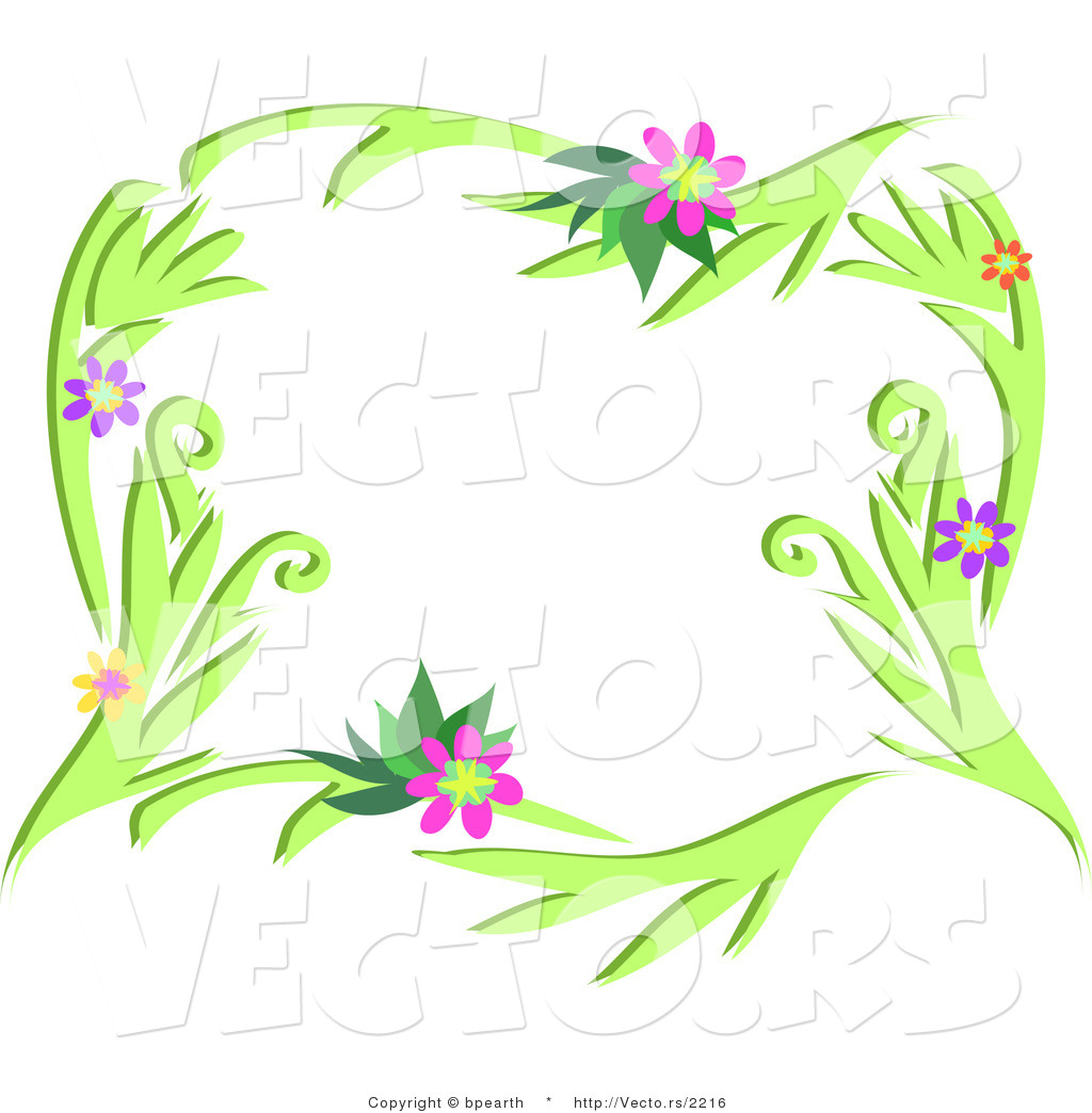 Vector of Colorful Flowering Vines Border Design